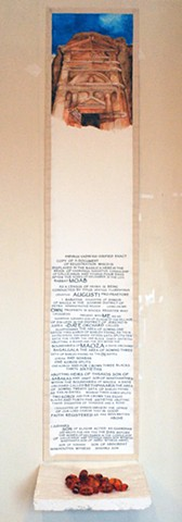 "Scroll: Sextius Florentinus Tomb, Petra, Papyrus XVI Sale of Dates; shelf with ""dates"" - Mimi Weinberg"