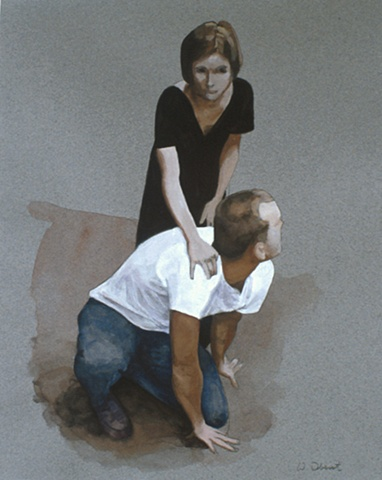 Woman Standing Over Man