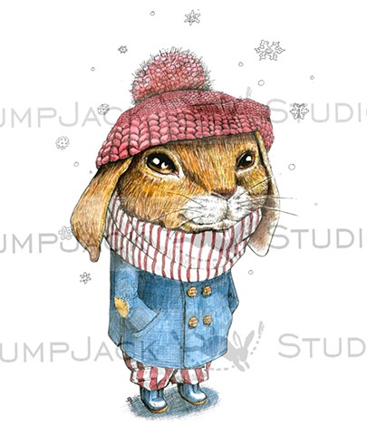Bunny in Snow Boots and Knitted Cap
