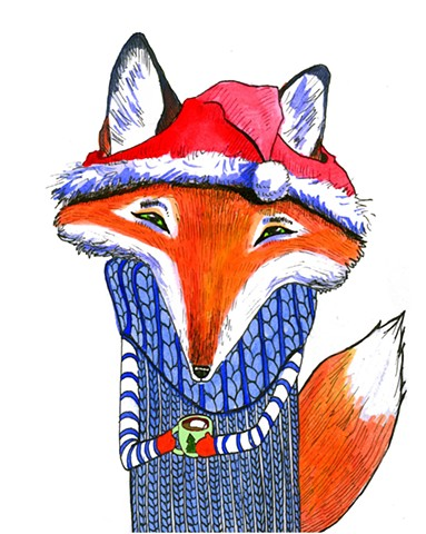 Foxy Christmas Card Design