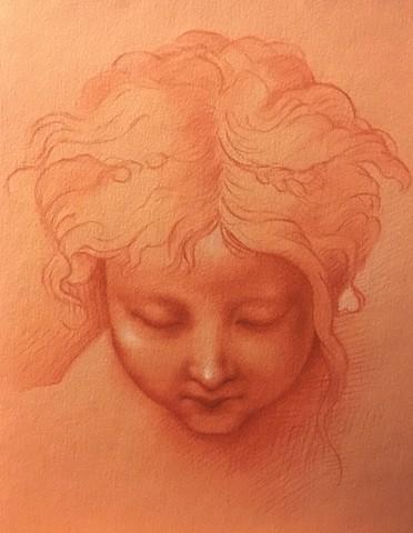 Masteru0027s Copy Drawing After Francesco Mazzola (Parmigianino), Study Of The  Childu0027s Head.