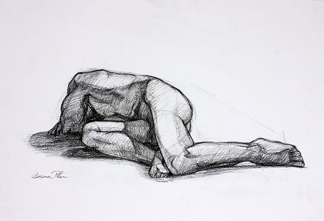 Male nude life drawing, figure drawing, charcoal on paper