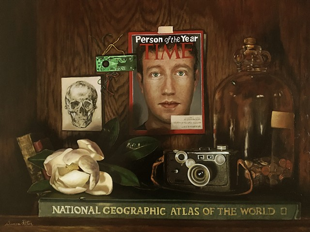 Vanitas Still Life with Social Media/ Zuckerberg theme.