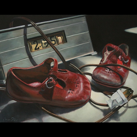 Still life of Old clock and red shoes, original oil painting,