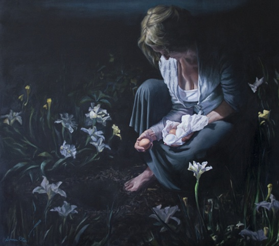 original oil painting, woman in garden, eggs