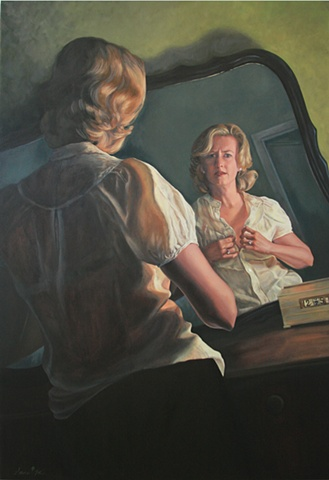 Original oil painting, film noir mirror portrait