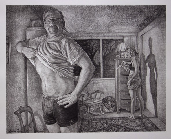 man looking at stomach, weight loss, figurative drawing, woman looking at man, bedroom