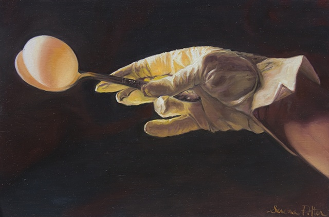 original oil painting, egg, vintage spoon, vintage glove on hand