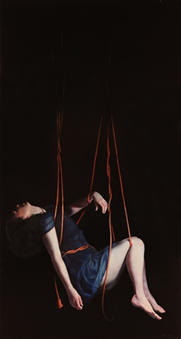 Original Oil Painting, figure suspended in electrical cords