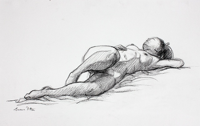 female nude life drawing charcoal on paper