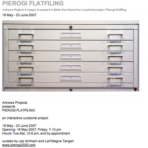"""Pierogi Flatfiling"" Flatfiles in Berlin, curated by Joe Amrhein and Leif Magne Tangen"