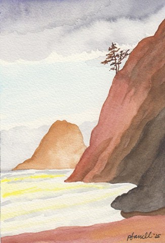 Similar to the Coast watercolor, this is the next piece of the landscape.