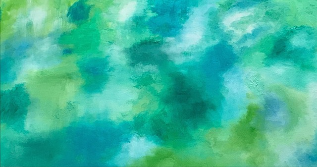 Abstract Green Oblong Painting