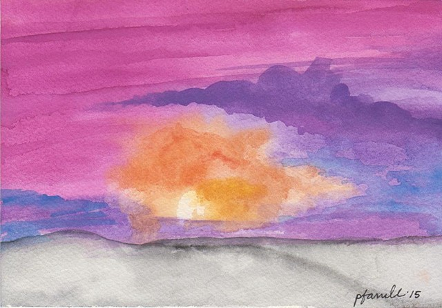 An abstract beach bonfire