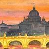 San Pietro from across the Tiber, Roma