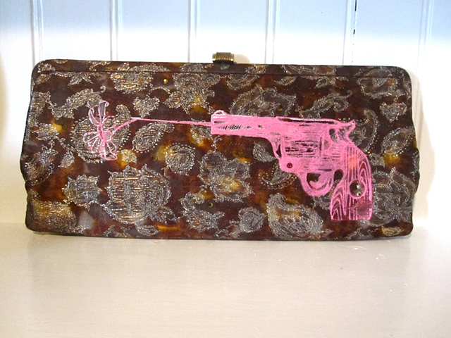 Gold Brocade Hot Pink Bullets