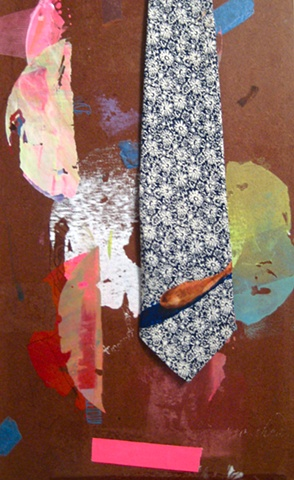 Vintage neck tie, hand printed, hand painted, original design