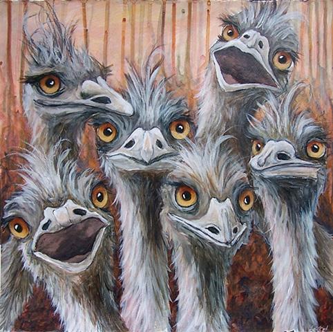 Six Emus (study)
