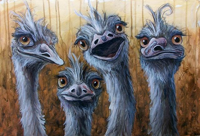 Four Emus (study, framed)