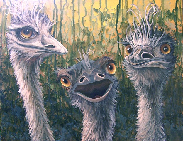 Three Emus (step 8)