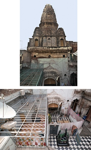 Top: Bhansidhar Temple, Anarkali. Digital Print Below: Bhansidhar Hindu Temple, Occupied 1947, Anarkali Bazaar, Lahore. Digital Print