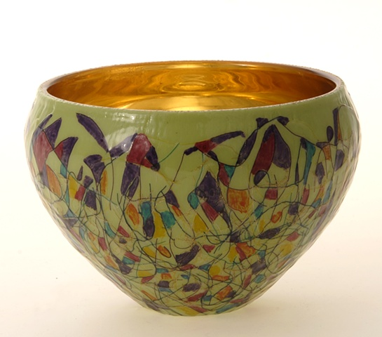 "eglomise, Reverse painting and gilding on glass, 23K Gold Leaf  gilding, ""Mardis Gras"" glass bowl by Jan Maitland, Handpainted Glass Bowl, verre églomisé, janmaitland.com"