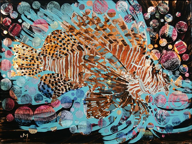 "verre églomisé, gilded glass, reverse painting, hand-gilded, hand-painted, ""Lion Fish"" by Jan Maitland, Framed, Home Decor, Wall Art"