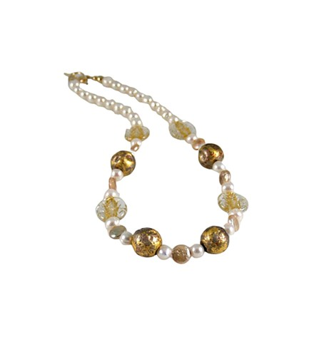 Matinee Pearl and Gold necklace, pearls and gold necklace, gilded jewelry, white and gold, janmaitland.com, 23 karat gold leaf on stone, freshwater pearls necklace, Czech glass beads,