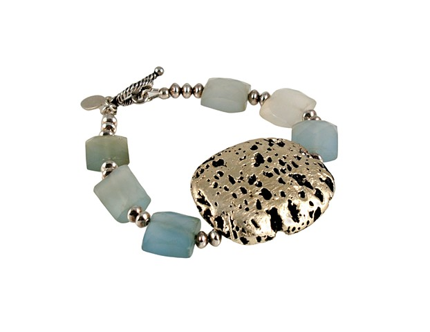 Baby Blue Chalcedony and white gold bracelet, blue chalcedony, sterling silver, gold bracelet, blue stone, gilded jewelry, janmaitland.com