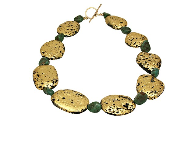 Turquoise Summer Green Turquoise and Gold Necklace, Jan Maitland Jewelry, gilded jewelry, Fine Jewelry, 23K Gold Leaf on stone, gold Necklace, wearable art, gilded, pumice stone, lava stone, Precious Metal Leaf, green turquoise and gold necklace, gold gil