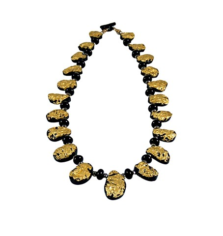 Starring Night Gold Gilded and Black Tektite Necklace, Gold and Black tektite and onyx necklace, gold gilded 23 karat jewelry, textured gold on stone, onyx toggle clasp, elegant gold on rustic forms, natural stone, onyx and gold pyrite beads, precious gol