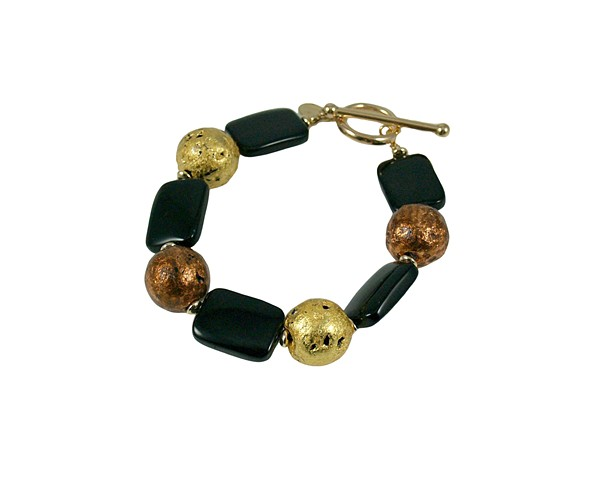 Dot-Dash-Dot Onyx Gold and Copper Bracelet, Gold, Copper, onyx, Bracelet in 23-Karat Gold and Copper Leaf on Stone, Onyx