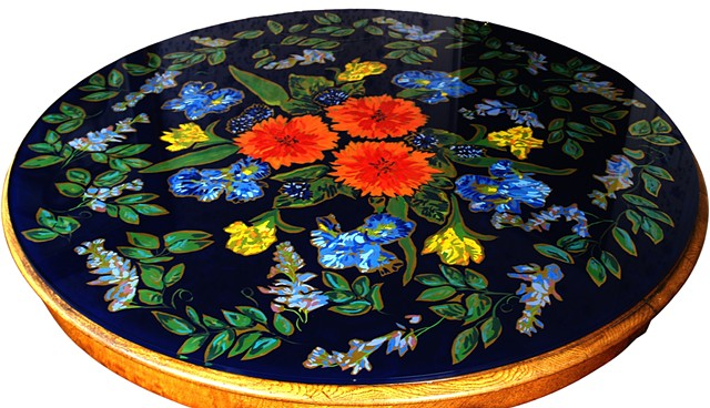 Commissioned Floral Glass Table TopSan Francisco, CAVerre Eglomisé
