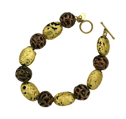 "Chocolate Lace Lampwork Czech Glass and Gold Bracelet, 23-Karat Gold Leaf, Stone, Czech Glass, Bracelet, Jewelry, ""Chocolate Lace"" Bracelet in 23-Karat Gold on Stone, Czech Glass Lamp Work beads in Copper"