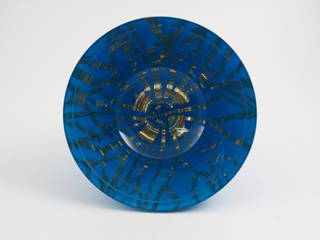 "eglomise, Reverse painting on glass, gilded glass bowl, ""Jellyfish""glass bowl, Jan Maitland, 23-Karat Gold Leaf, blue and gold glass bowl, home decor glass art, janmaitland.com"