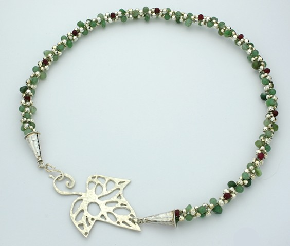 The Holly and The Ivy Green Chrysoprase and Sterling Silver with Ruby Necklace, Chrysoprase and Silver Kumihimo Necklace with Aventurine, Rubies, Silver Beads, Stering Ivy leaf, pierced with Jewelers Saw design, 19inches, womans gift, gems, clasp design i