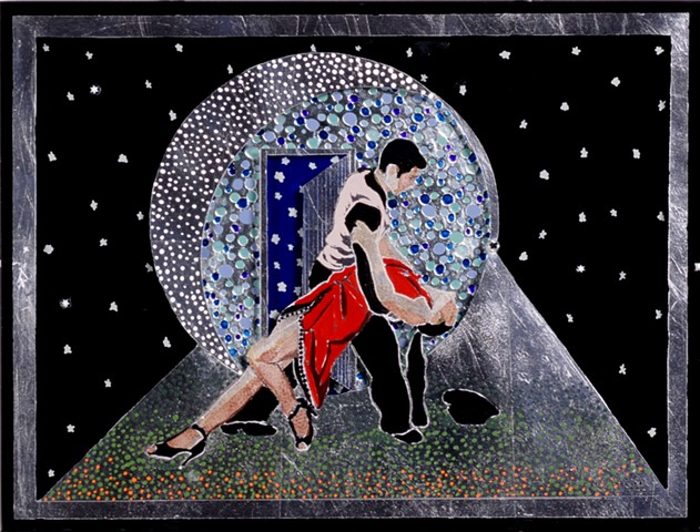 "verre églomisé, gilded glass, reverse painting, hand-gilded, hand-painted, ""Cool Tango"" by Jan Maitland, Framed, Home Decor, Wall Art"