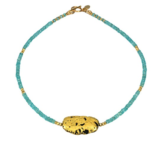 "Mar Azul Blue Apatite and Gold Necklace, Fine Jewelry, Jan Maitland,""Mar Azul"" Necklace in 23-Karat Gold Leaf on Lava Stone, Apatite, and 24-Karat over Pyrite"