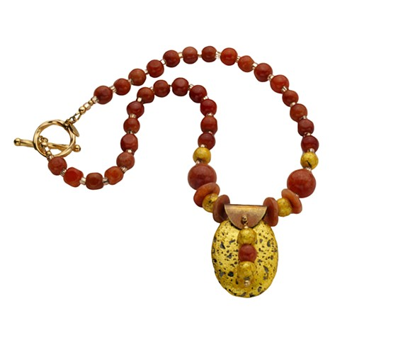 Red Jade and Gilded Gold Necklace, Jade Necklace, Jade and Gold, Red Jade, Gilded Jewelry, 23 Karat Gold Leaf Gold Leaf on stone, jade pendent, gold pendent, round jade beads, toggle clasp, 17 inches, Brown Jade, janmaitland.com, artist Jan Maitland