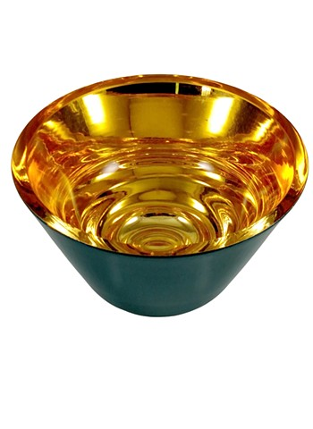 verre eglomise bowl, home decor, blue green gold bowl, hand gilded, 23 karat gold leaf on glass, reverse painted glass, gilded glass bowl, janmaitland.com
