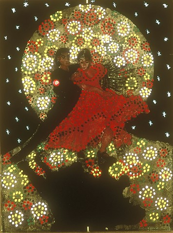 "verre églomisé, gilded glass, reverse painting, hand-gilded, hand-painted, ""Flamenco Dancers"" by Jan Maitland, Framed, Home Decor, Wall Art"
