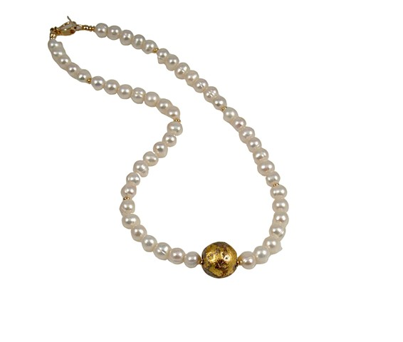 "I Do Pearl and Gold Necklace, gold, freshwater pearls, ""I Do"" Necklace in 23-Karat Gold Leaf and Freshwater Pearls"