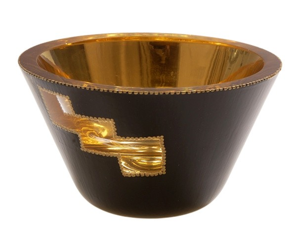 "eglomise, églomisé, Reverse painting on glass, gilded gold leaf, gold leaf on glass, ""Tiered Peek-A-Boo"" glass bowl by Jan Maitland, 23K Gold Leaf,  verre églomisé, gold and black glass bowl, home decor, janmaitland.com"