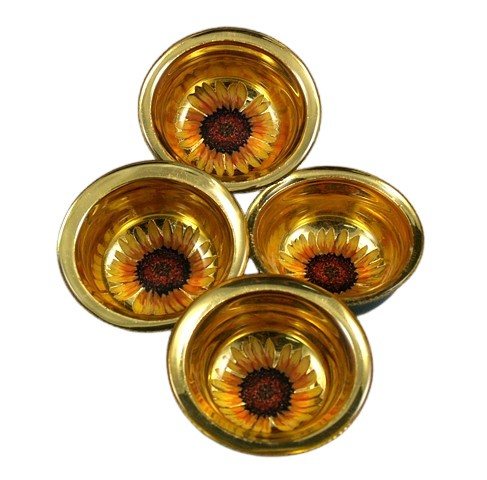 eglomise glass bowl, eglomise, églomisé, Gold and Black Glass Bowl, reverse painted, reverse painting on glass,glass bowls by Jan Maitland, verre eglomise, gold and sunflowers on glass, janmaitland.com