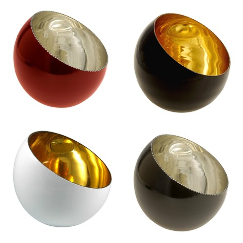 Crimson Glow, Cathedral, Wedding Bowl, and White GlowVerre Eglomisé Bowls