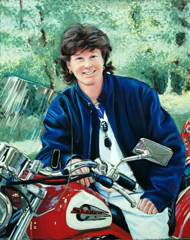 Portrait of woman on motorcycle, commissioned portrait, jan maitland pastel artist, oregon pastel artist