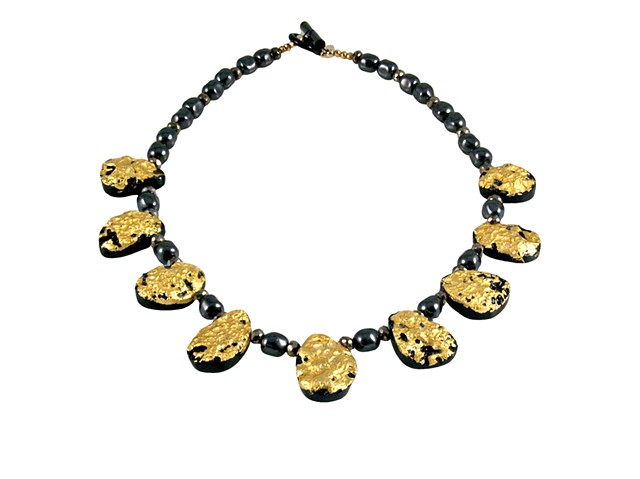 Mezzo Soprano Black Tektite and Gold Necklace, tektite gilded necklace, gilded jewelry, necklace in gold and black, precious metal on stone necklace, 23 karat gold leaf on stone necklace, gold tektite pyrite and Swarovski Pearls necklace, unique gilded je