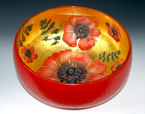 "eglomise, verre églomisé glass bowl, ""Poppy"" by Jan Maitland, 23-Karat Gold Leaf on glass, Gold and Red Glass Bowl, home decor, janmaitland.com"