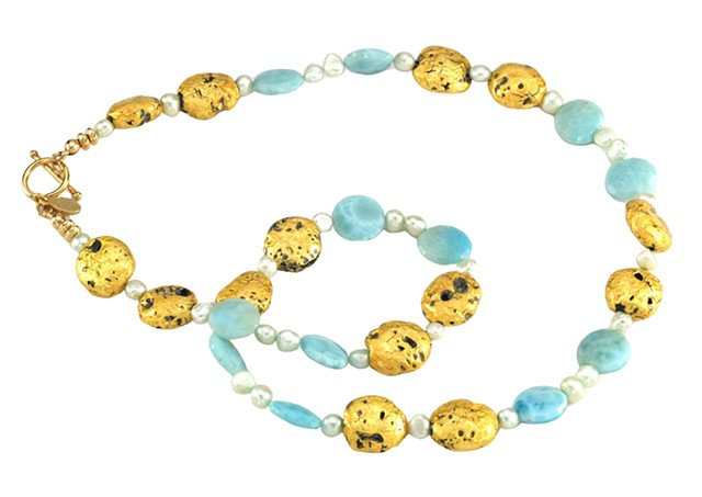 Beloved Blue Larimar and Gold Necklace, necklace in gold and larimar, gilded jewelry, 23 karat gold leaf on lava stone, gilde gold, Oregon artist, Jan Maitland jewelry designs