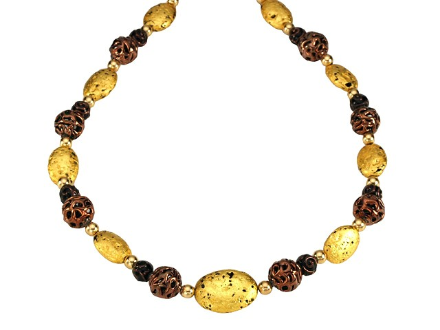 "Chocolate Lace Lampwork Czech Glass and Gold Necklace, 23-Karat Gold Leaf, Stone, Czech Glass Lamp Work Beads, Necklace, Jewelry, ""Chocolate Lace"" Necklace in 23-Karat Gold Leaf On Stone, Czech Glass Lamp Work Beads"